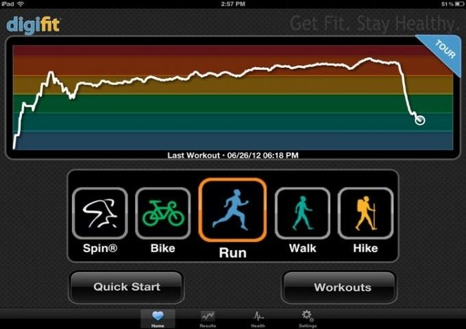 Image showing the Digifit iCardio app