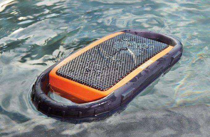 EcoXBT bluetooth speaker totally waterproof floating on water