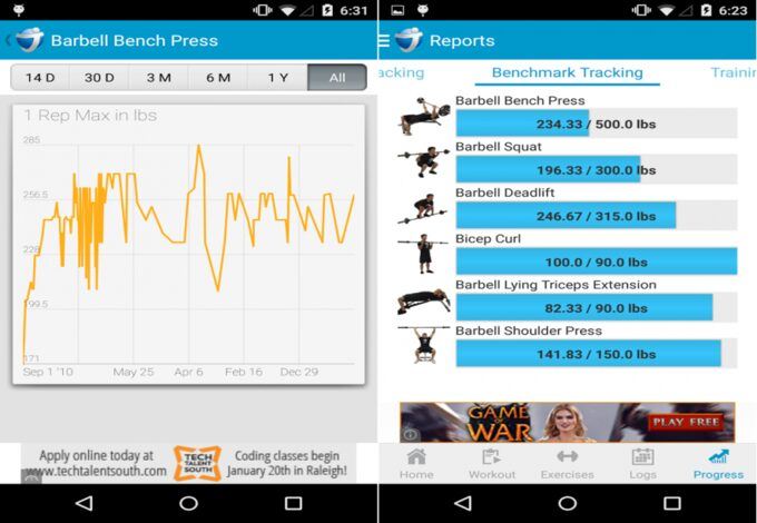 Image showing a Jefit app workout