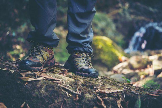 man wearing hiking pants