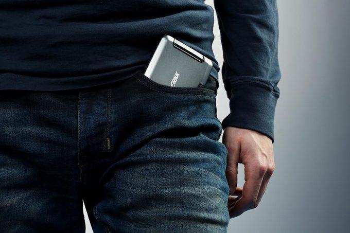 man wearing waterproof wallet in pocket