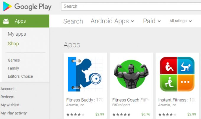 play store fitness apps price