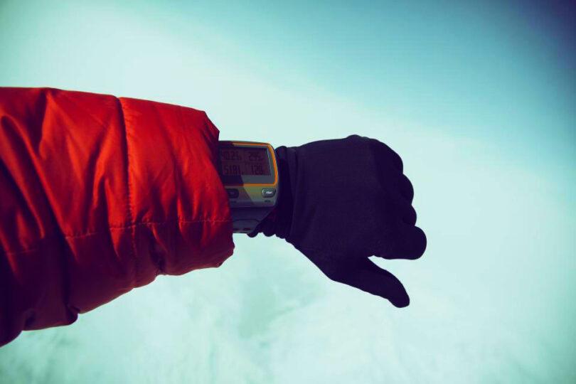 hiker wearing waterproof glove