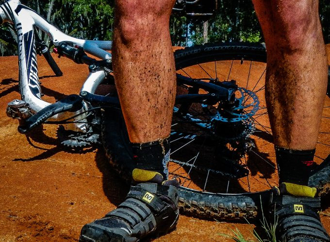 cyclist with waterproof socks