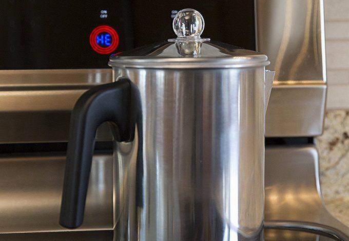 titanium coffee pot from up close
