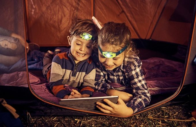 two kids with headlamp