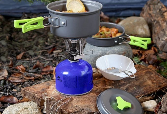 camping pot on camping stove