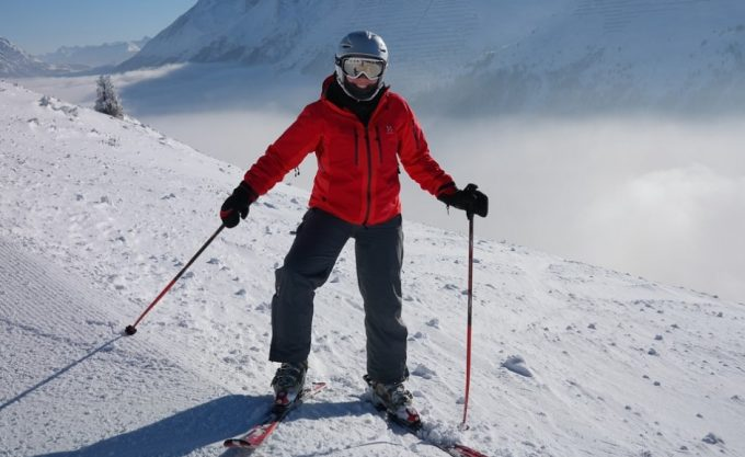 skier in waterproof jacket