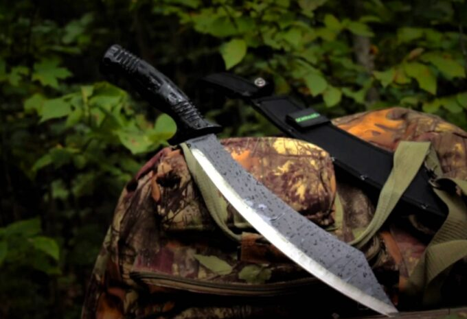 machete and case in the woods