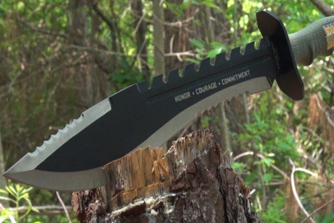 machete cutting in wood
