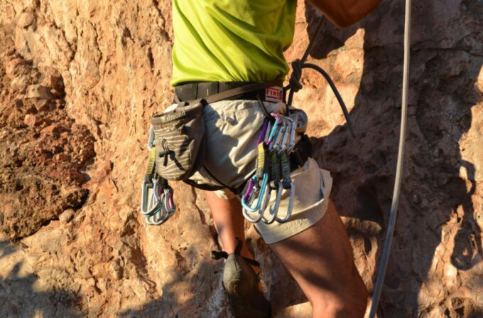 rock climbing with gear