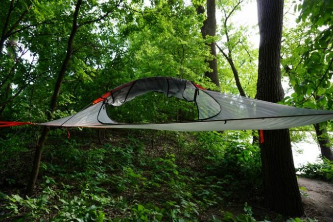tent hanged on trees