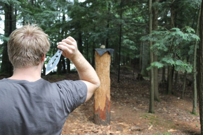 throwing knife in the woods
