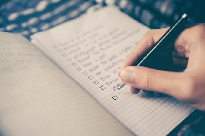 writing in a checlist