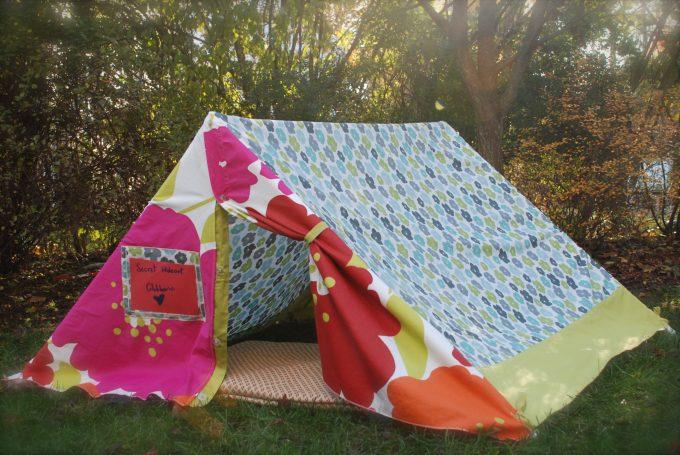 diy tent in backyard