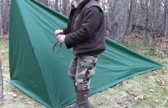 diy tent in the woods