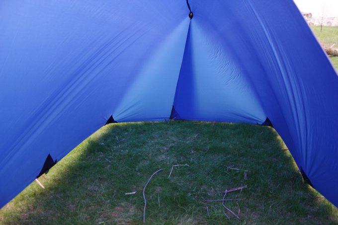inside of a diy tarp tent